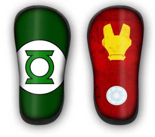 Parastinchi personalizzati in carbonio con iron man e lanterna verde